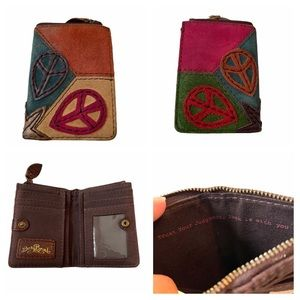 Lucky Brand Genuine leather Suede Peace Wallet
